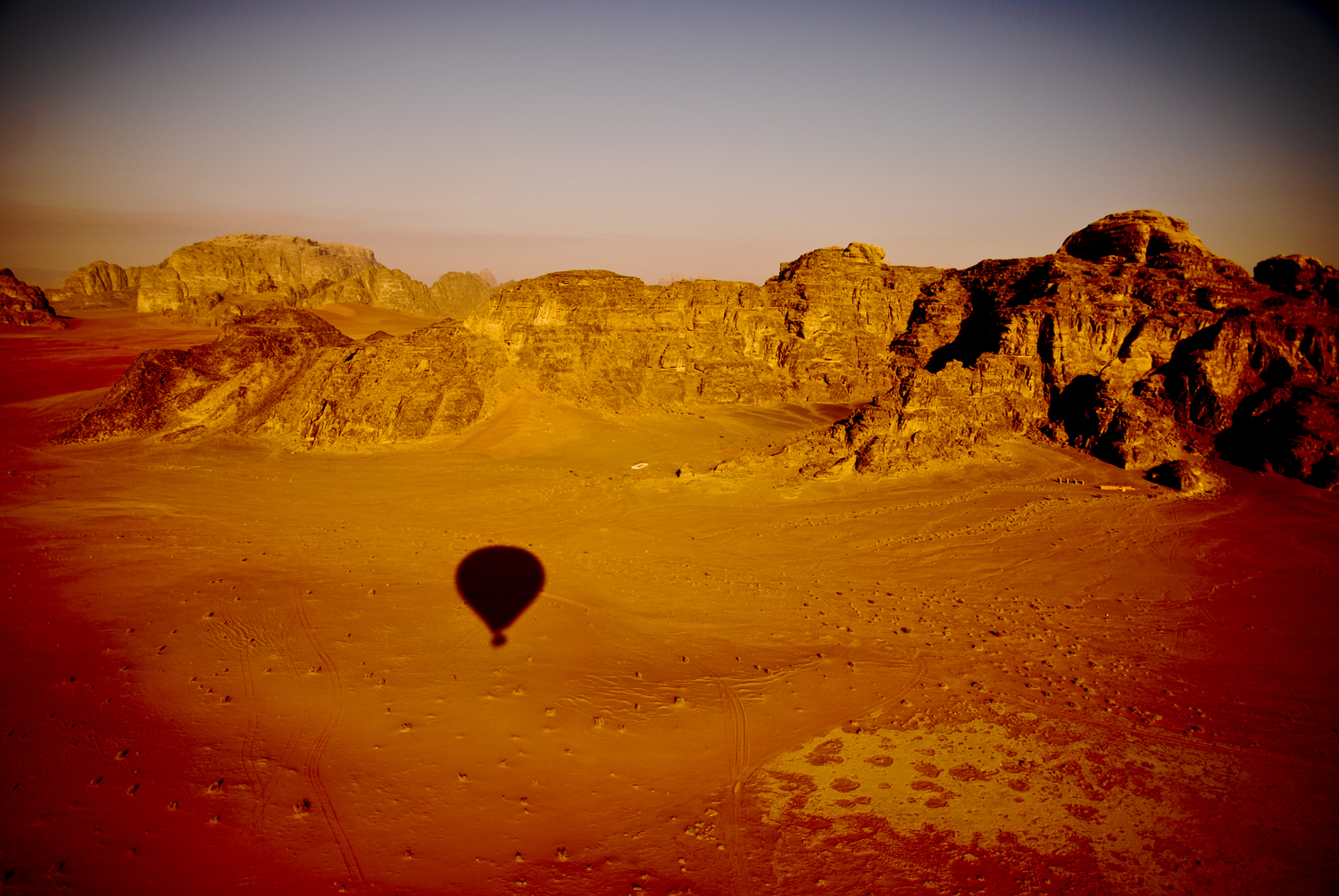 Deserto de Wadi Rum visto do ar